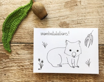 Wombatulations greeting card; unique all occasions Australiana card; gumdots Australian native series; wombat congratulations pun card