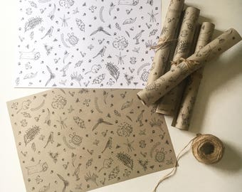 Australian Bush Wrapping Paper - unique illustration gift wrap; recycled paper gumdots Australia woodland flowers recyclable colour in wrap