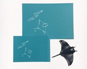 Manta Ray and Divers A5 / A4 gumdots white ink print from unique illustration; Ningaloo coral Reef Australia ocean shark dive souvenir diver