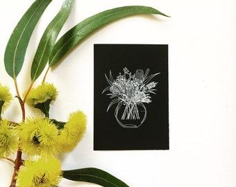 Australian Wildflower Bouquet A6 unique white ink print illustration, gumdots Australian natives flora flowers in vase wall art Australia