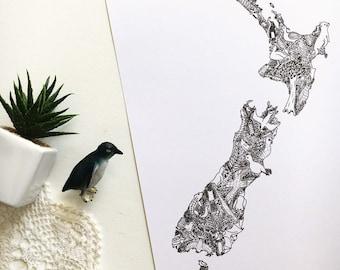 Illustrated Map of New Zealand- A4 and A5 unique map illustration print; NZ souvenir drawing unique decor wall art kiwi penguin kakapo