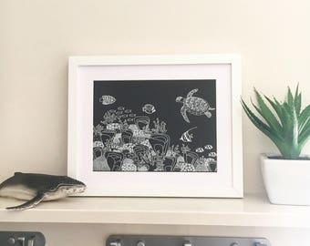Turtle Reef- A5 or A4 white ink print from original, handdrawn fineliner artwork; gumdots Australian ocean series; Ningaloo Reef souvenir