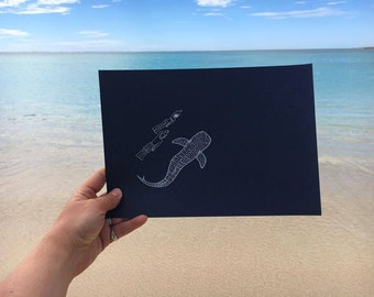 Whaleshark and Divers A5 / A4 gumdots white ink print from unique illustration; Ningaloo coral Reef Australia ocean shark diver souvenir