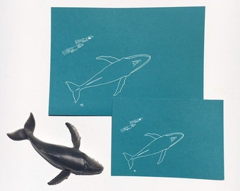 Humpback whale and diver; gumdots A4 / A5 white ink on teal print from original artwork; Australia ocean  illustration Ningaloo souvenir