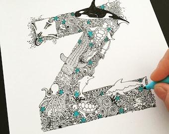 illustrated letter 'under the sea' print of unique fineliner illustration, personalised Australian nursery decor, orca fish Australia ocean