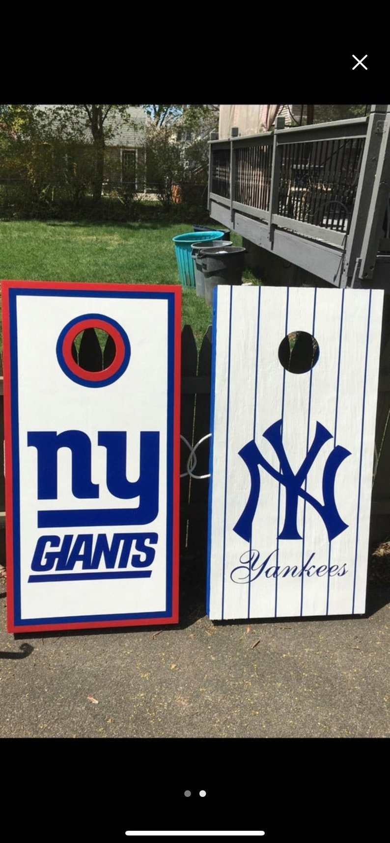 Giants Yankees Cornhole Boards