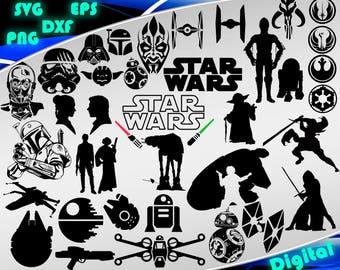 Star Wars svg Star Wars clipart svg Star Wars printable silhouette stencil file cricut vector cut file cutting file eps vector files