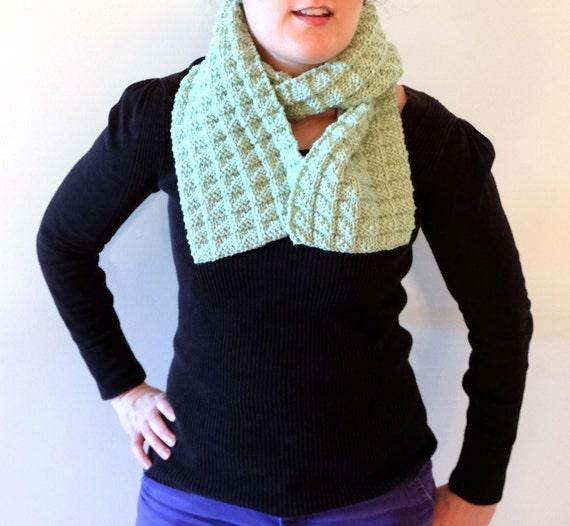 6a490cc3f58ba9 Scarf Light Green Hand Knit Textured Pattern Women s