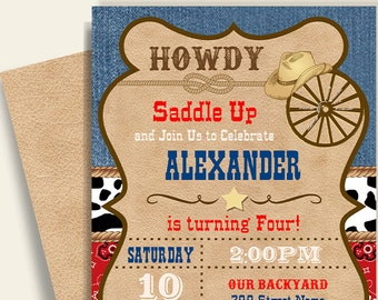 Cowboy Birthday Invitation Printable Party Invite Western Instant Download Self Editable PDF File A230