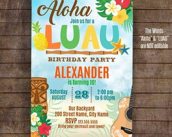 Luau Invitation Printable Party Template Birthday