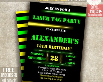 Invite and tag etsy laser tag invitation laser tag party invite laser birthday party printable self editable pdf file a148 filmwisefo