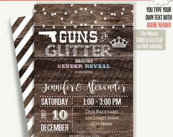 Guns or Glitter invitation, Printable Gender Reveal template, Instant download Self Editable PDF File A252