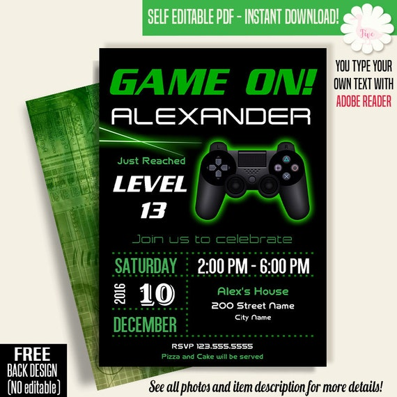 Game On Invitation Video Game Party Invitation Gaming Etsy