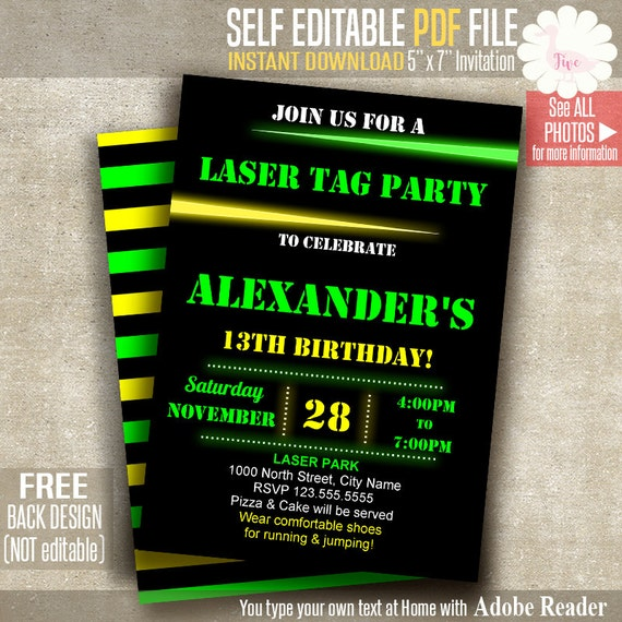 Laser Tag Invitation Party Invite Birthday