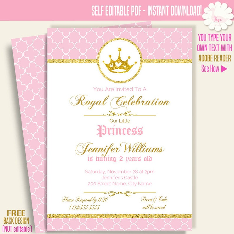 Royal Birthday Invitation Printable Princess Invite Royal Baby Girl Templates Self Editable Pdf A704