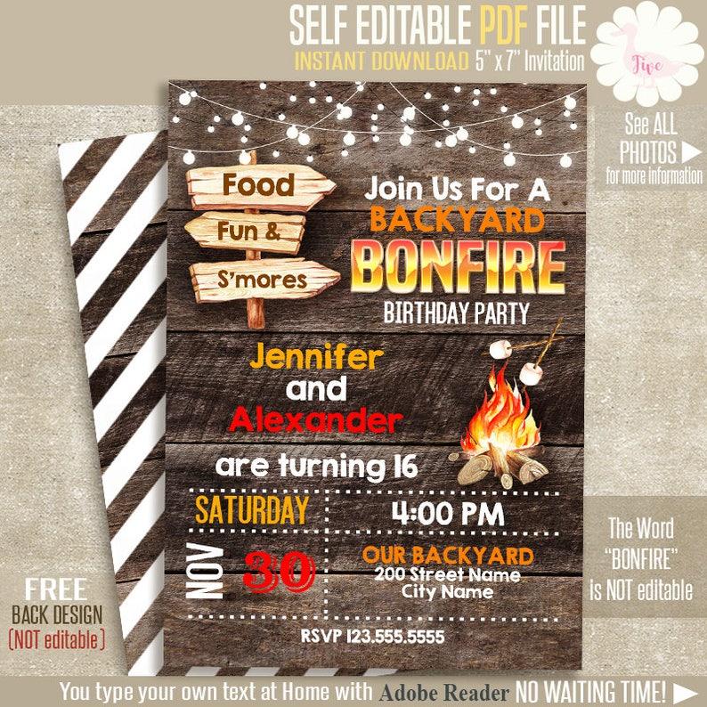 Bonfire Invitation Printable Birthday Invite Rustic Wood Templates Self Editable PDF File A110 622