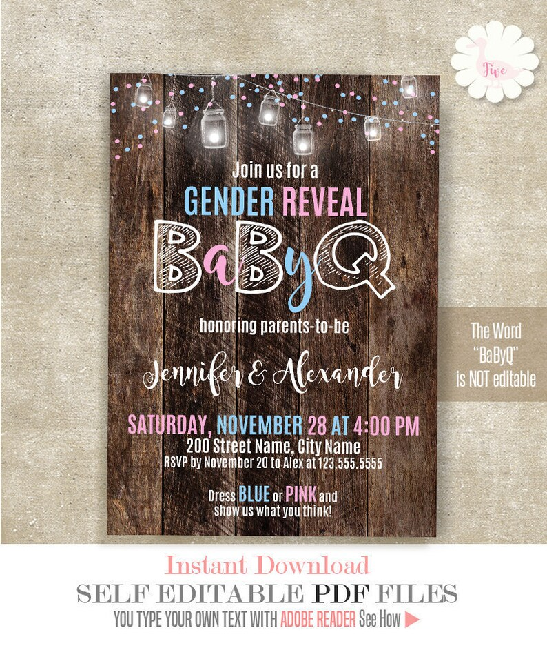 Babyq Gender Reveal Invitation Baby Shower Baby Bbq Rustic Gender Reveal Self Editable Pdf A775