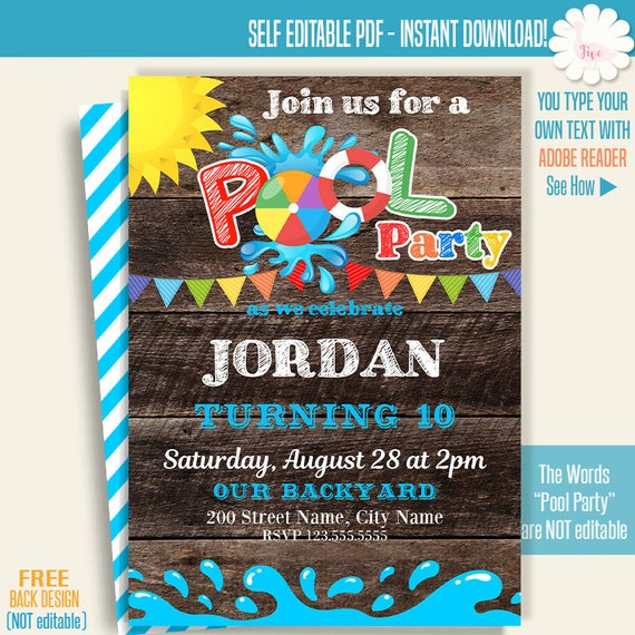 photo relating to Printable Pool Party Invitations named Printable Pool occasion invitation, Pool bash invite, pool social gathering templates, Immediate Obtain Self Editable PDF A273