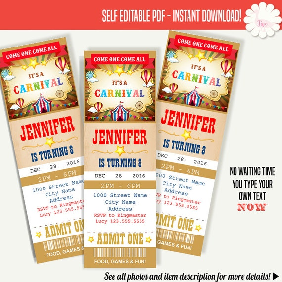 carnival ticket party invitation printable ticket invitation etsy