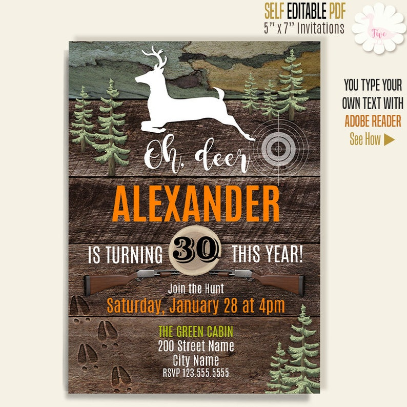Hunting Party Invitation Printable Birthday Invites