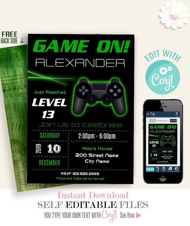 image about Free Printable Video Game Party Invitations named Video game upon invitation, Movie sport bash invitation, gaming birthday invite, Printable Editable Template, Edit with Corjl, A226