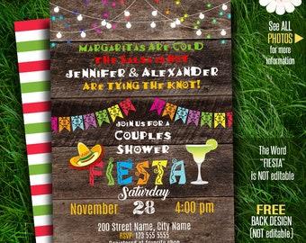 Couples Shower Fiesta invitation, Rustic Fiesta invitation, Mexican party invite, Printable Self Editable PDF A171-640