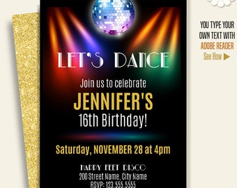 Dance party invitation, disco party, dance birthday, printable self Editable PDF template A659