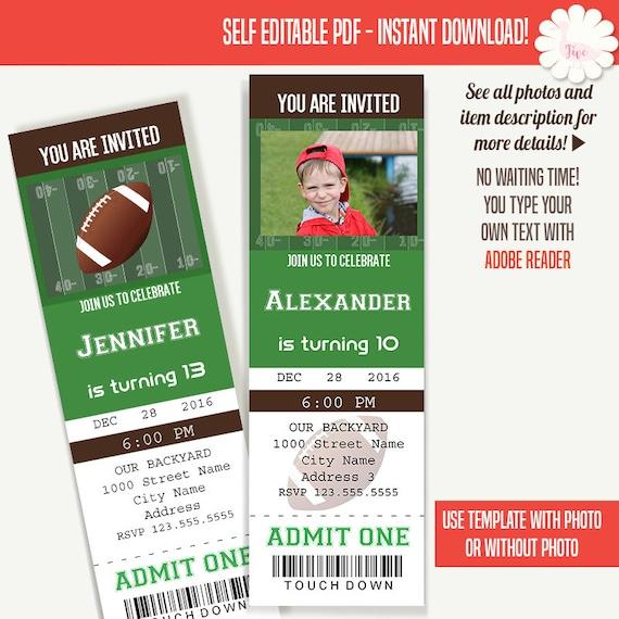 football ticket invitation birthday tickets template instant etsy