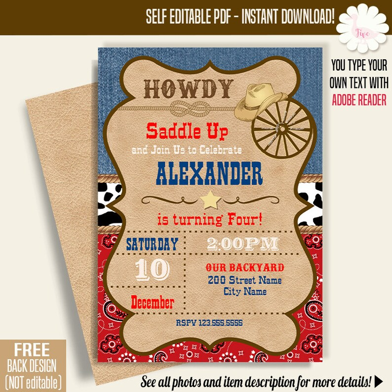 Cowboy Birthday Invitation Printable Party Invite Western