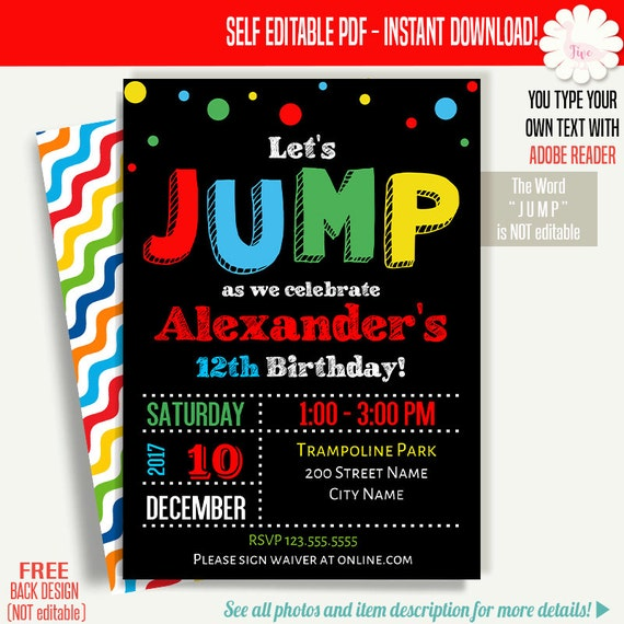 jump invitation jump birthday invitation jump party invite