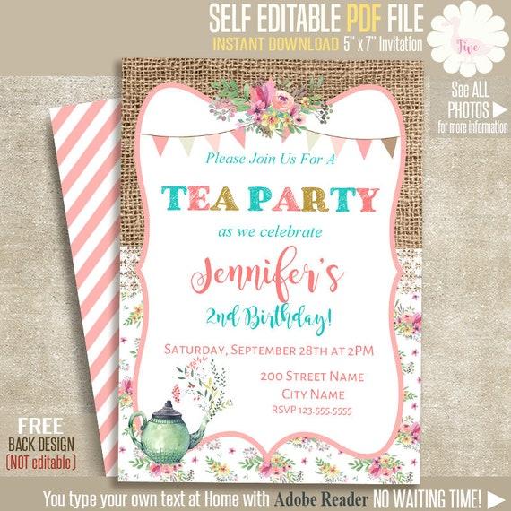 Tea Party Invitation Tea Birthday Party Invitation Instant Etsy