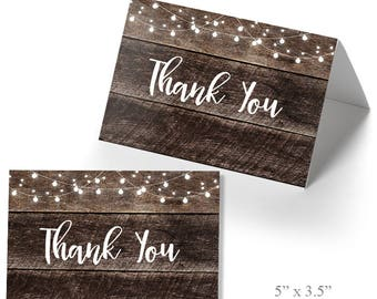 Printable Thank you cards, Rustic thank you card template, Instant download, Not Editable PDF and JPEG T201