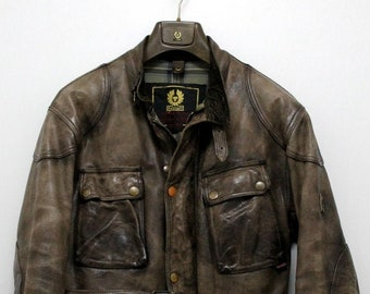 d277ea4ce3 rare Belstaff Panther 1966 leather biker jacket made in Italy Size xl