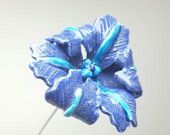 Handmade ceramic blue iris flower