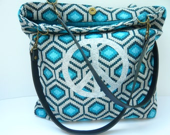 Blue and beige purse handmade silver peace pattern