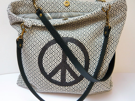 Black and white patterned peace tote bag   Etsy 29b9bb4c0a