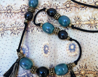 Handmade long necklace with black and gray-green ceramic beads