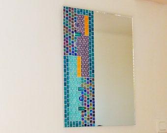 Handmade blue-green mosaic Art Deco mirror