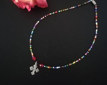 Cross necklace,  beaded necklace, short necklace, colourful choker, religious choker, beaded choker, beautiful necklace, summertime