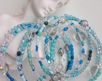 LIght blue wrap bracelet, boho bracelet, eight rows bracelet, wrap bracelet, spring bracelet, beaded bracelet, handmade jewelry