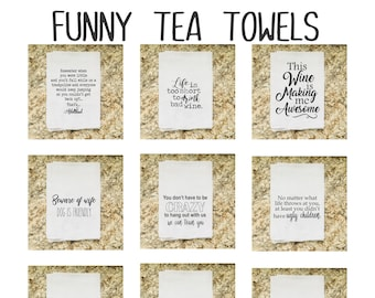 Funny Tea Towels | Coffee | Kids | Best Friend | Wine | Home Decor Gift & More