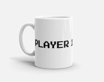 8 Bit Player 1 Coffee Mug - Nerd Mug - Gamer Mug - Retro Mug - Gifts for Gamers - 2 Sizes
