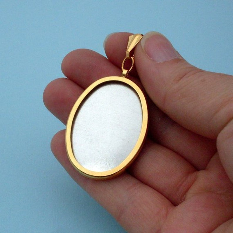 DIY Gold Oval Pendant Setting Frame Mounting Pendant 203G handmade gift jewellery supplies for embroidery cross-stitch 112G