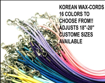 wholesale 100pieces 17-19inch adjustable assorted 12 colors 1.5mm waxed cotton necklace cords