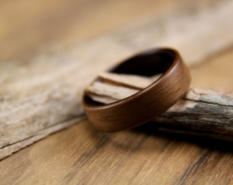 Bentwood Ring - Handcrafted Wooden Ring - Walnut line with Macassar Ebony - Wood Engagement Ring