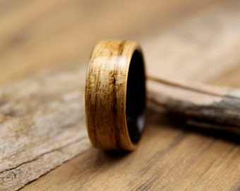 Bentwood Ring - Zebrawood lined with Ebony - Handcrafted Wooden Ring