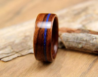 Bentwood Ring - Santos Rosewood with Azurite and Malachite Inlay- Handcrafted wooden ring