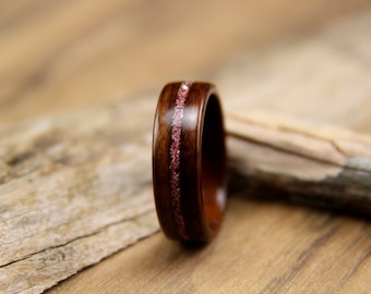 Bentwood Ring - Santos Rosewood with Pink German Glass Glitter Inlay- Breast Cancer Awareness Ring - Handcrafted wood ring