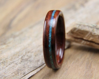 Bentwood Ring - Kingwood with Offset Turquoise Inlay- Handcrafted Wooden Ring