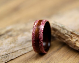 Bentwood Ring - Breast Cancer Awareness - Santos Rosewood and Double Pink German Glass Glitter Edgelay - Handcrafted Wooden Ring